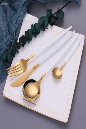 LAPUTA Beyaz Gold 30 Parça Çatal Kaşık Bıçak Takımı 6 Kişilik Takım Ithal Ürün 1