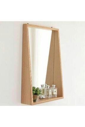 Ahşap Dekoratif Çerçeveli Raflı Ayna 0