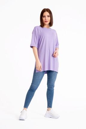 GİYSA Boyfriend Kaşkorse Lila T-shirt 3683 2