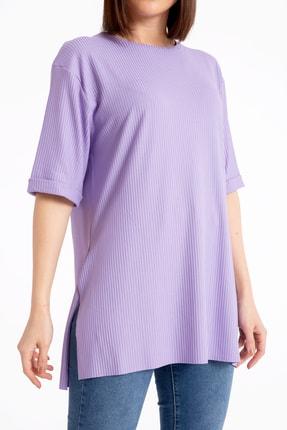 GİYSA Boyfriend Kaşkorse Lila T-shirt 3683 3