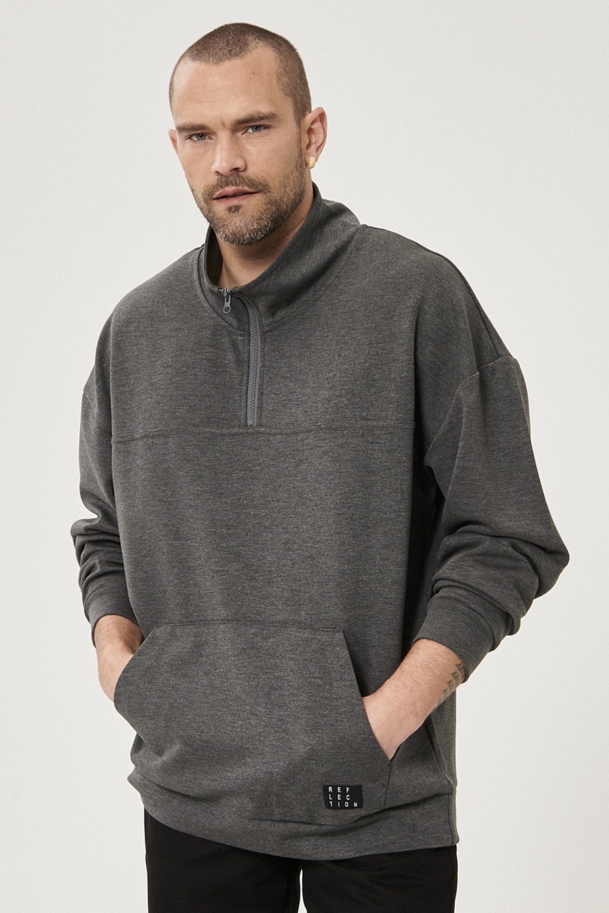 Erkek Antrasit-Melanj Oversize Günlük Rahat Yarım Balıkçı Yaka Spor Sweatshirt