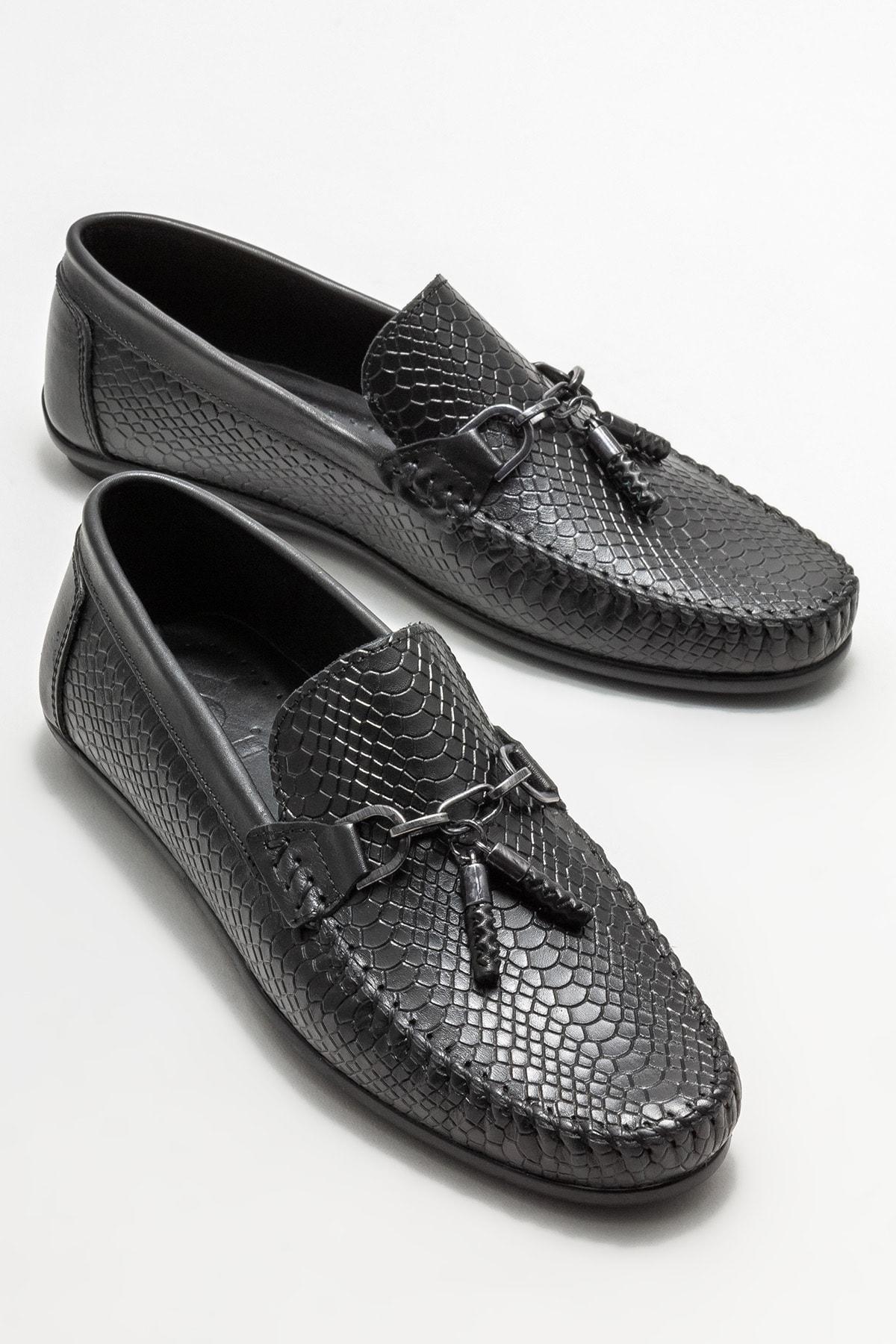 Erkek Siyah Deri Püskül Detaylı Loafer Ayakkabı