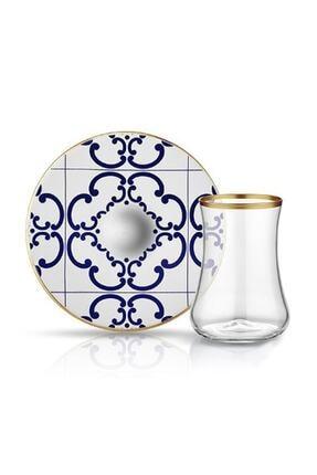 Koleksiyon Ev ve Mobilya Dervish Çay Seti 6'lı Karo Çiçek Mat Altın Şeffaf 0