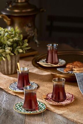Koleksiyon Ev ve Mobilya Dervish Çay Seti 6'lı Karo Çiçek Mat Altın Şeffaf 1