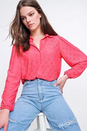 Trend Alaçatı Stili Kadın Mercan Fisto Örme Prenses Kol Gömlek ALC-X6259 1