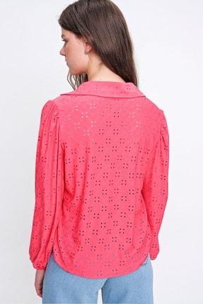 Trend Alaçatı Stili Kadın Mercan Fisto Örme Prenses Kol Gömlek ALC-X6259 4
