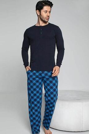 Erkek Lacivert Pamuklu Pijama Takımı Akare Pijama