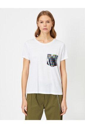 Koton Kadın Ekru Pul Detayli T-Shirt 0YAK13834EK 2