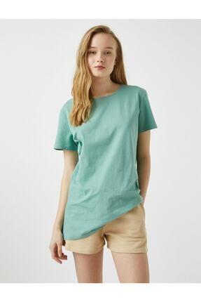 Koton Kadın Yeşil Kısa Kollu Bisiklet Yaka Pamuklu T-Shirt 1