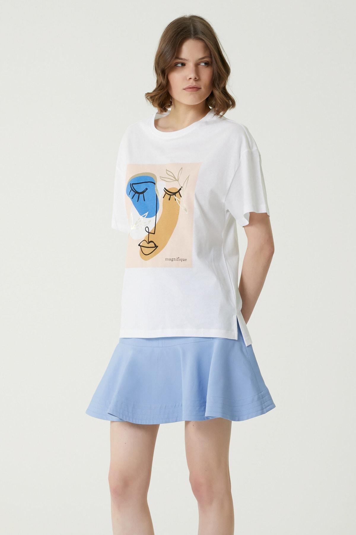 Kadın Basic Fit Beyaz Baskılı Basic T-shirt 1079543