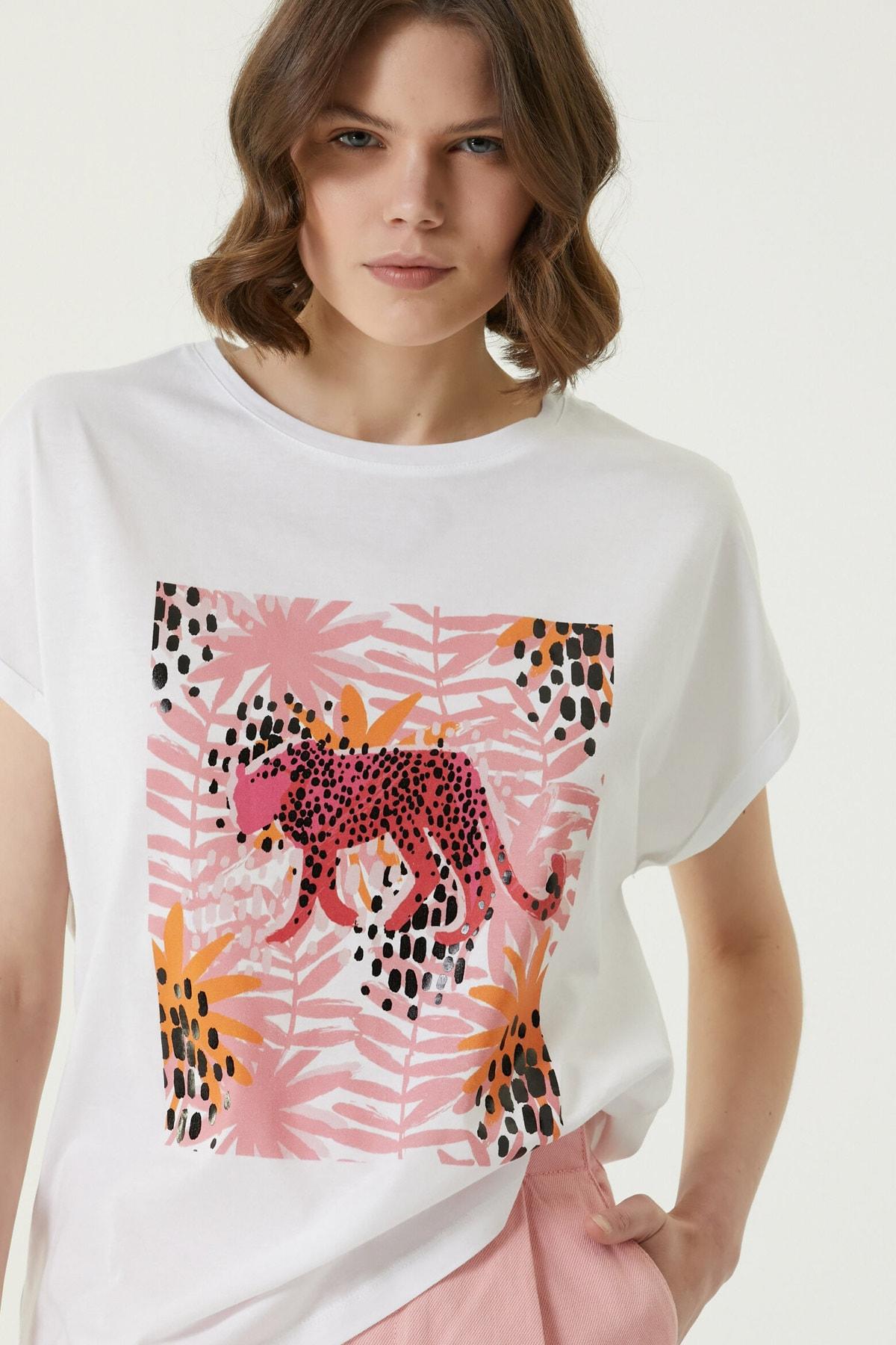 Kadın Basic Fit Beyaz Baskılı T-shirt 1079545