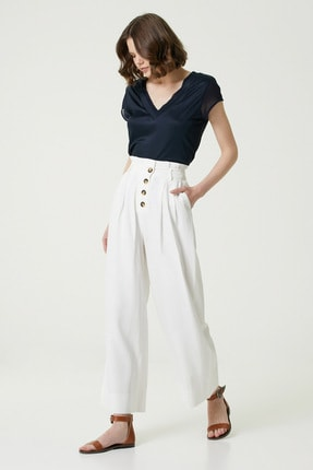 Network Kadın Slim Fit Lacivert V yaka Şifon Garnili T-shirt 1078479 3