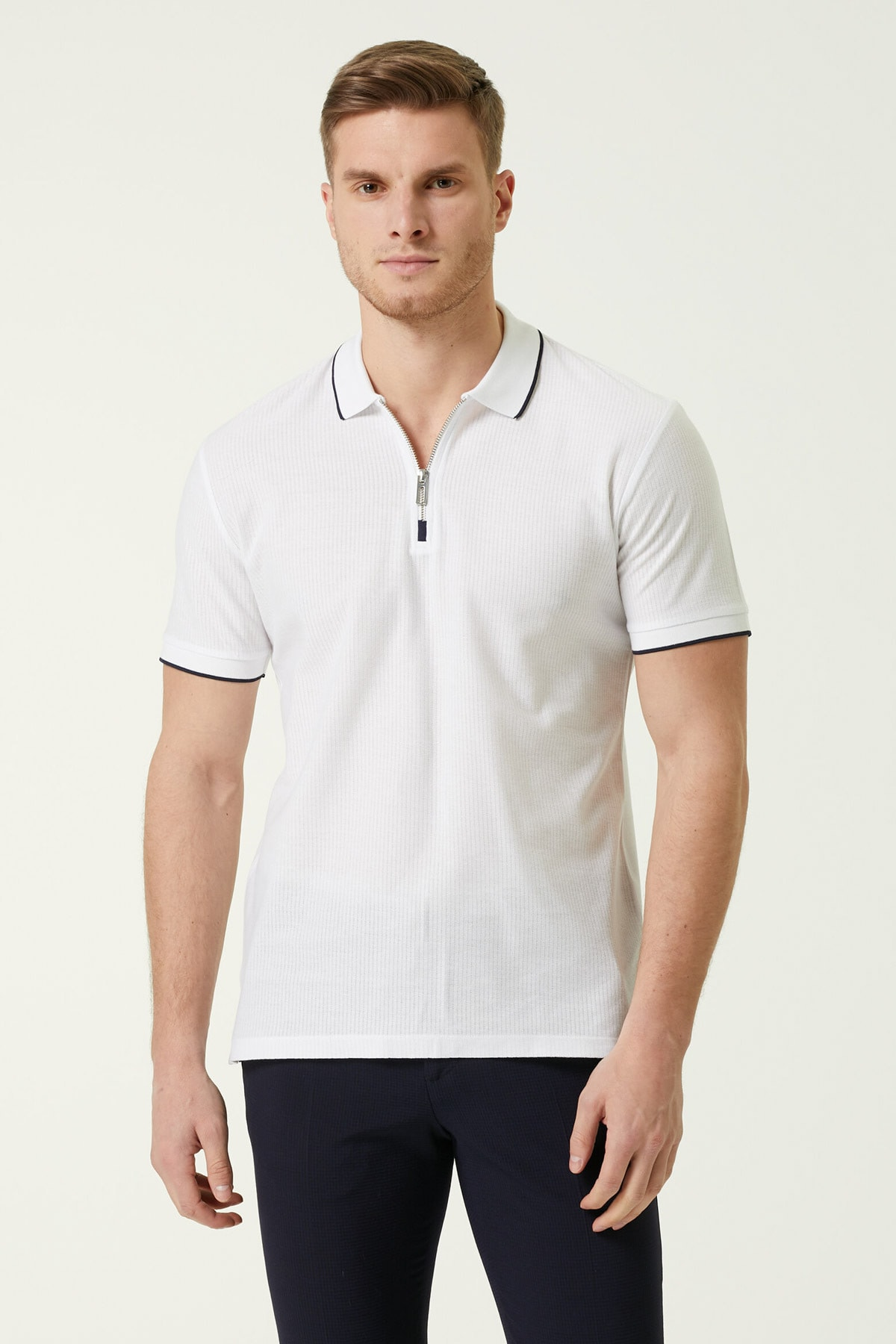 Erkek Slim Fit Beyaz Polo Yaka T-shirt 1079177