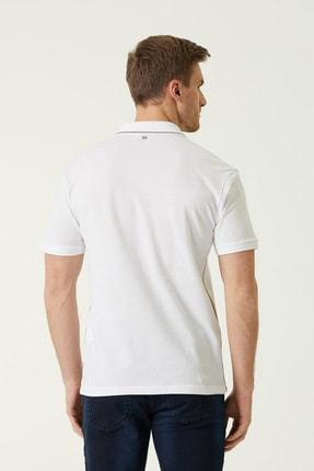 Network Erkek Slim Fit Beyaz Polo Yaka Şeritli T-shirt 1078381 3