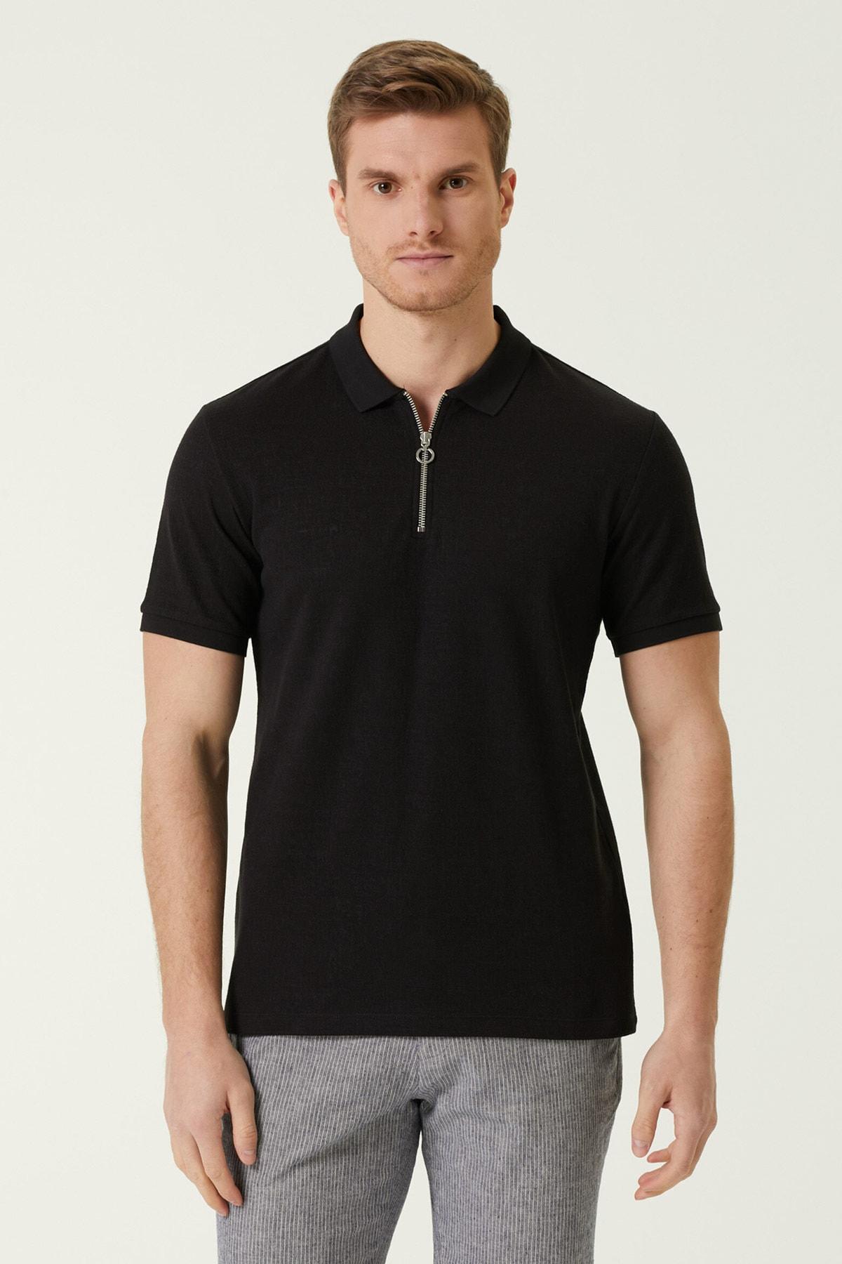 Erkek Slim Fit Siyah Polo Yaka T-shirt 1077935