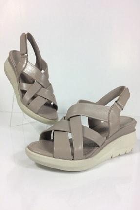 Kadın Bej Hakiki Deri Comfort Sandalet TDCSD