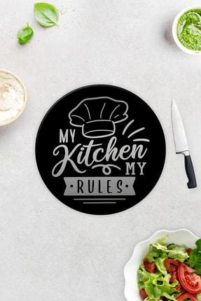 Decorita My Kitchen My Rules | Cam Kesme Tahtası - Cam Kesme Tablası | Çap 32cm 1