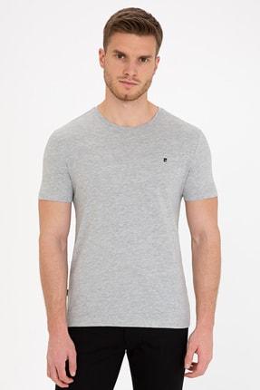 Pierre Cardin Açık Gri Melanj Slim Fit Bisiklet Yaka Basic T-Shirt 0
