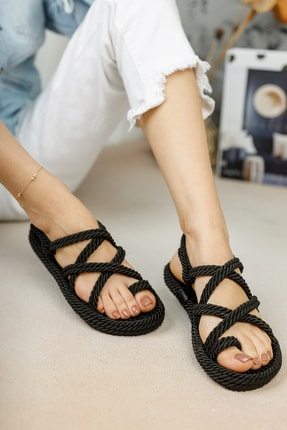 meyra'nın ayakkabıları Halat Sandalet Siyah 0