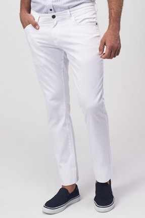 Altınyıldız Classics Erkek Beyaz Slim Fit Armürlü Pantolon 0