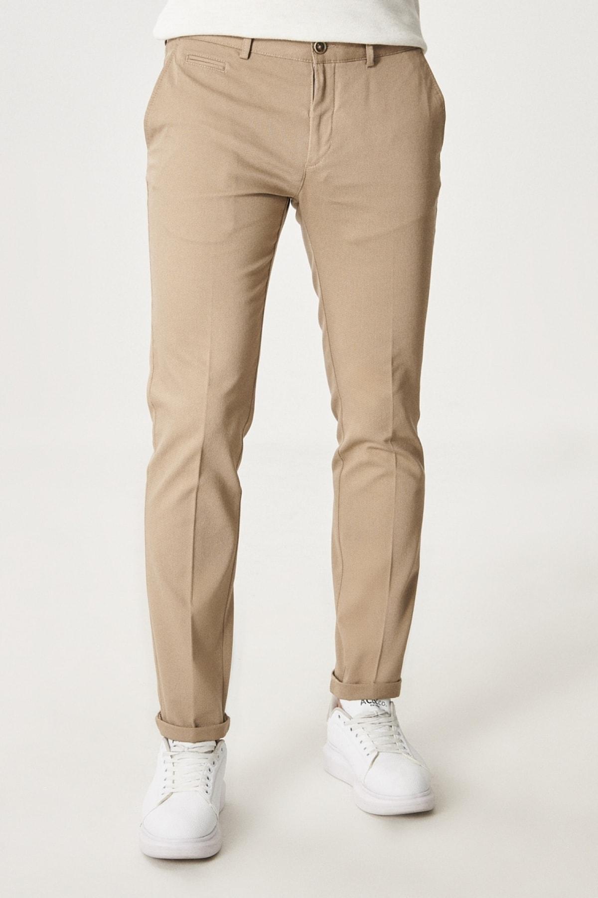 Erkek Bej Slim Fit Dar Kesim Yan Cep Casual Pantolon