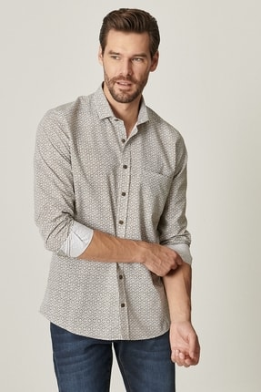 Altınyıldız Classics Erkek Haki Tailored Slim Fit Dar Kesim Küçük Italyan Yaka Baskılı Gömlek 2