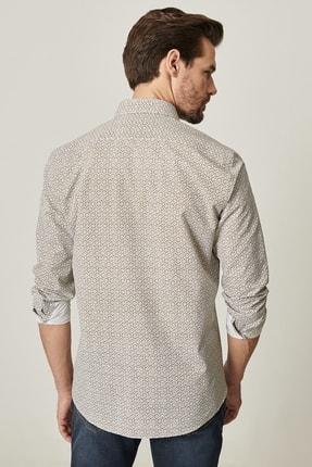 Altınyıldız Classics Erkek Haki Tailored Slim Fit Dar Kesim Küçük Italyan Yaka Baskılı Gömlek 3