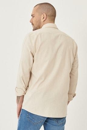 Altınyıldız Classics Erkek Bej Tailored Slim Fit Dar Kesim Düğmeli Yaka %100 Koton Gömlek 4