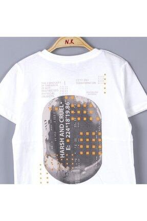 NK Erkek Çocuk Beyaz Turuncu Steps Tshirt 4