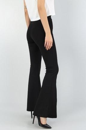 Md1 Collection Kadın  Esnek Kumaş Yırtmaç Paça Detaylı Siyah Ispanyol Paça Pantolon 2