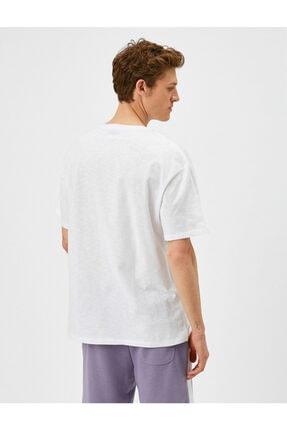 Koton Erkek Beyaz Yazı Baskılı T-Shirt 3