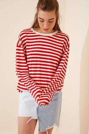 Happiness İst. Kadın Kırmızı Çizgili Mevsimlik Dökümlü Örme Bluz CO00024 2