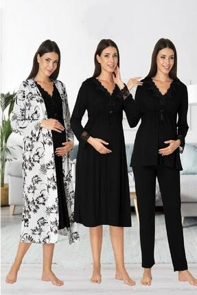 Effort Pijama Zerre Bebe Kadın Siyah Uzun Kollu Pijama Takımı Gecelik Sabahlık Lohusa Hamile 4'lü Set 0