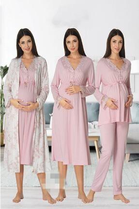 Effort Pijama Zerre Bebe Kadın Pembe Uzun Kollu Pijama Takımı Gecelik Sabahlık Lohusa Hamile 4'lü Set 0