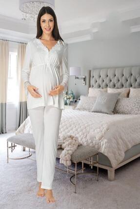 Effort Pijama Zerre Bebe Kadın Beyaz Uzun Kollu Pijama Takımı Gecelik Sabahlık Lohusa Hamile 4'lü Set 2