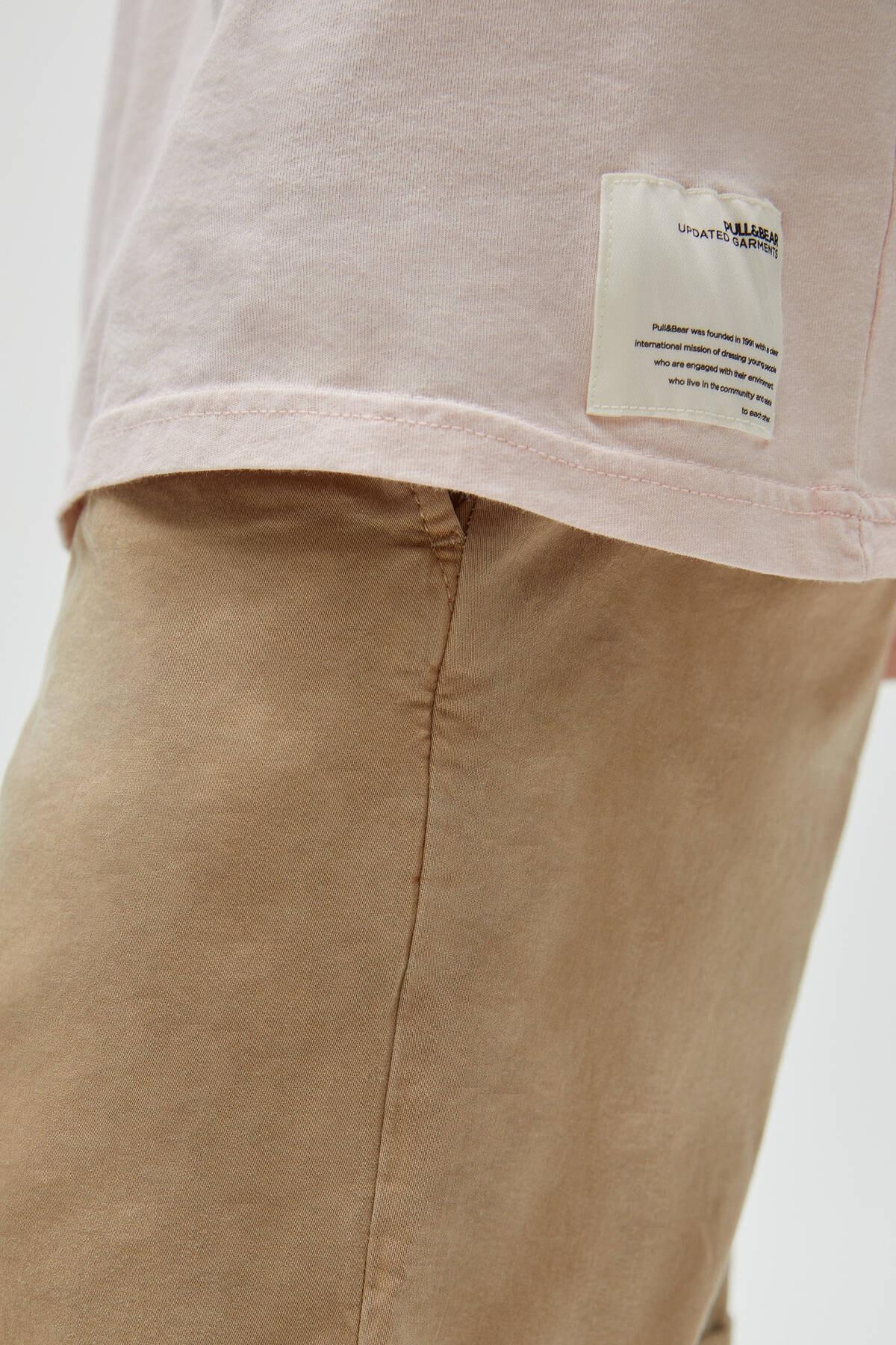 Pull & Bear Erkek Pembe Basic Loose Fit T-Shirt 04241517 1