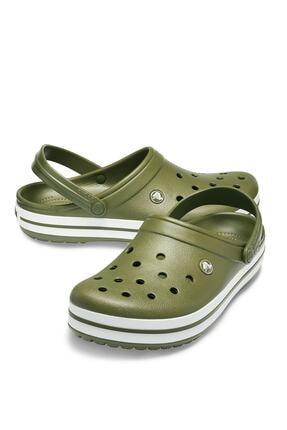 Crocs Yeşil Unisex Crocband Kenarı Beyaz Çizgili Terlik 3