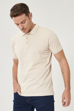 Picture of Erkek A.BEJ-BEYAZ Düğmeli Polo Yaka Cepsiz Slim Fit Dar Kesim Düz Tişört