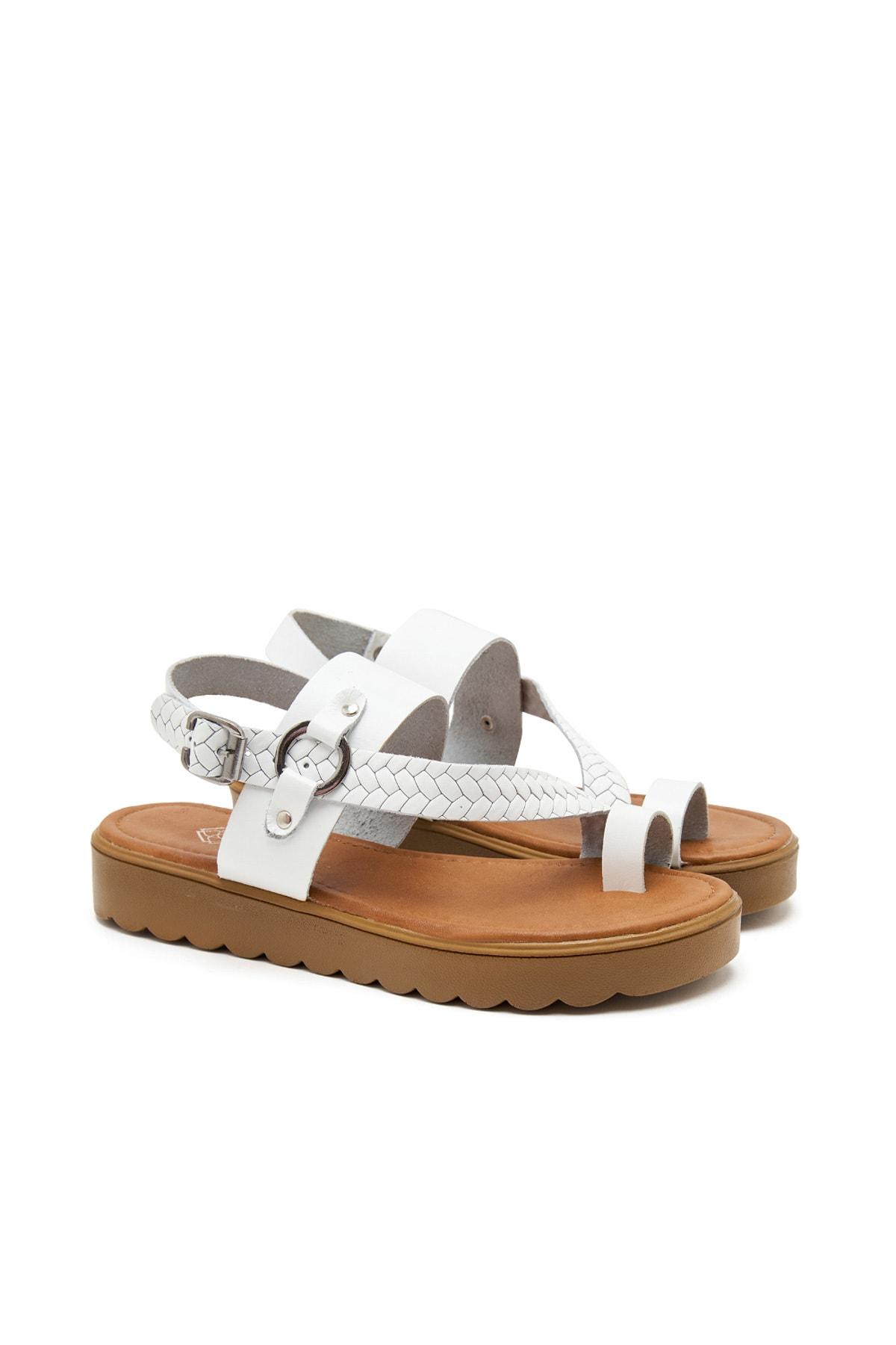 Beyaz Halina Kadın Deri Sandalet