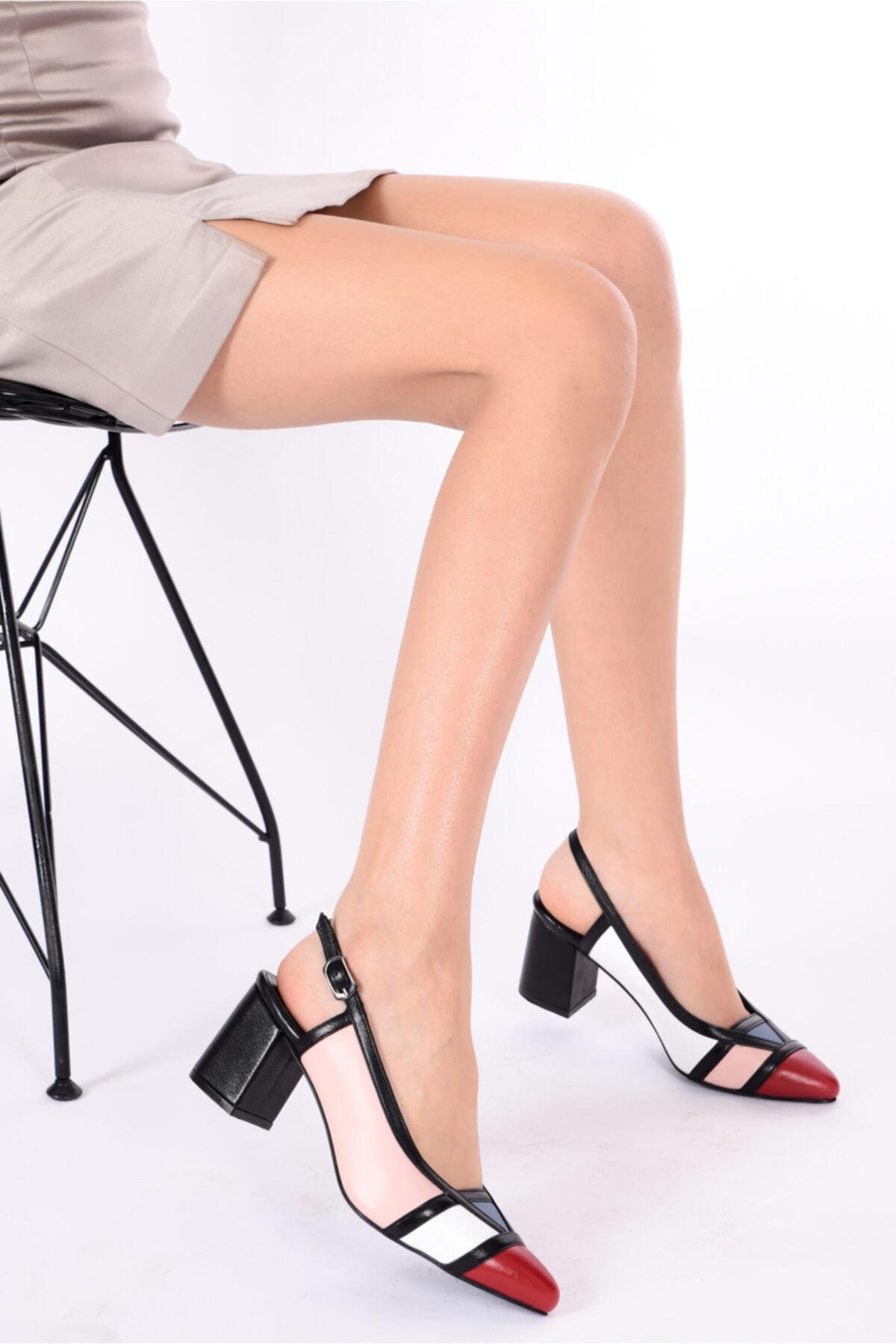 Hakiki Deri Pudra Beyaz Kırmızı Mavi Kadın Topuklu Deri Ayakkabı Shn-0075