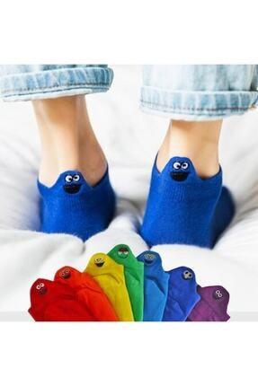 Yalıncak Çorap Emojili Patik Çoraplar 8'li Gökkuşağı Paket 0