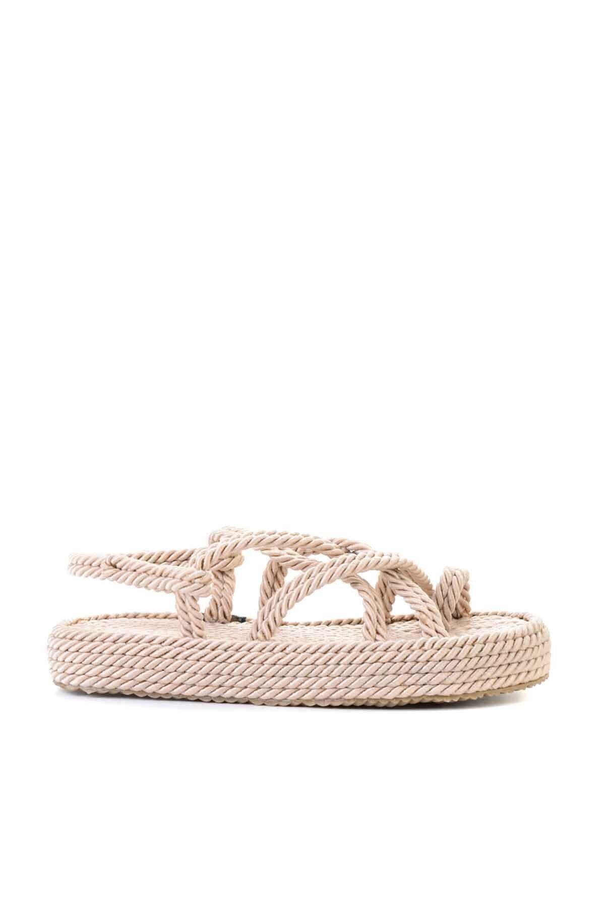 Bambi Bej Kadın Hasır Sandalet K05787020476