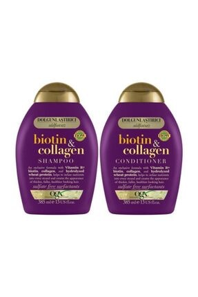 OGX Dolgunlaştırıcı Biotin&Kolajen Sülfatsız Şampuan 385ml+Bakım Kremi385ml+Ped 1