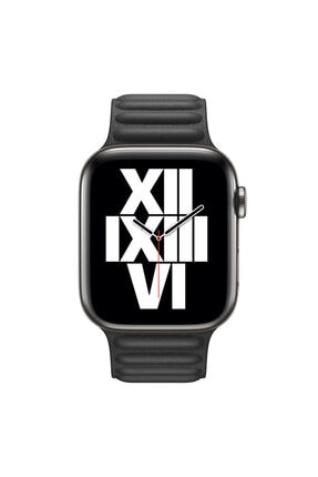 Apple Microsonic Watch Series 6 44 mm Leather Link Band Siyah Kordon 2