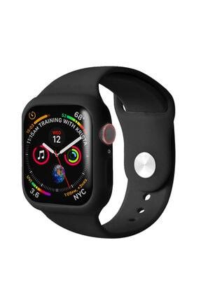 Apple Microsonic Watch Series 5 44mm Kordon 360 Coverage Silicone Siyah 0
