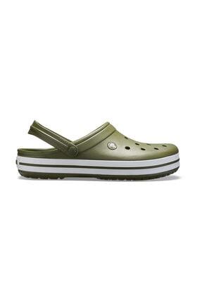Crocs Yeşil Unisex Crocband Kenarı Beyaz Çizgili Terlik 0