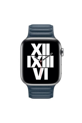 Apple Microsonic Watch Series 6 44mm Leather Link Band Lacivert Kordon 2