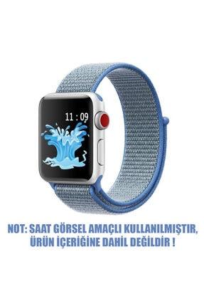 Apple Microsonic Watch Series 3 38mm Uyumlu Hasırlı Kordon Woven Sport Loop Tahoe Blue 1