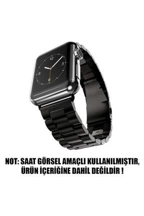 Apple Microsonic Watch Series 4 44mm Metal Stainless Steel Siyah Kordon 1