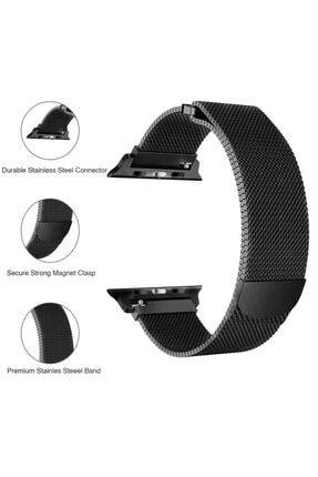 Apple Microsonic Watch 5 44mm Milanese Loop Version 3 Siyah Kordon 2